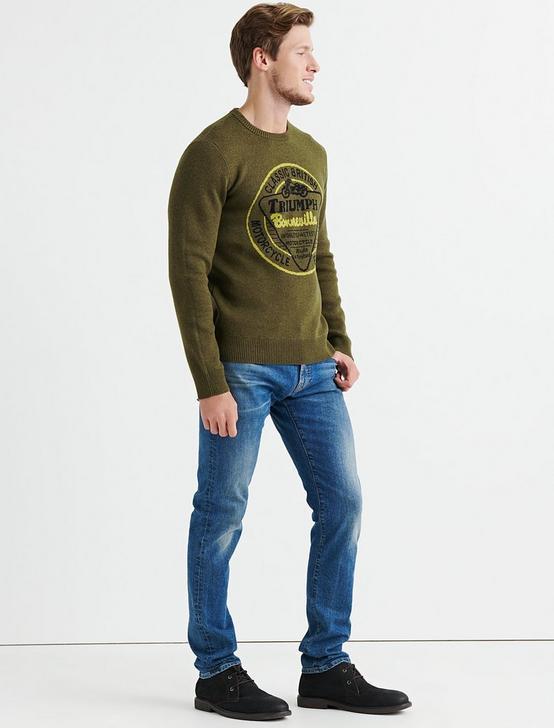 Triumph Bonneville Sweater, HEATHER OLIVE, productTileDesktop