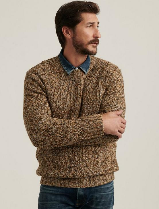 CROSS MARL STITCH PULLOVER SWEATER, NATURAL MULTI, productTileDesktop
