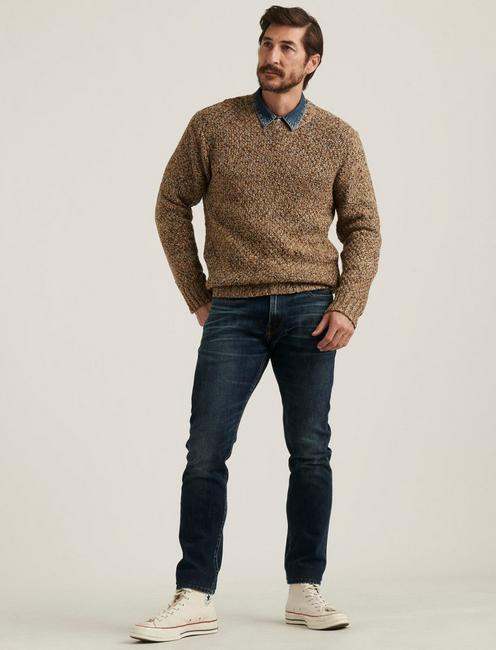CROSS MARL STITCH PULLOVER SWEATER, NATURAL MULTI