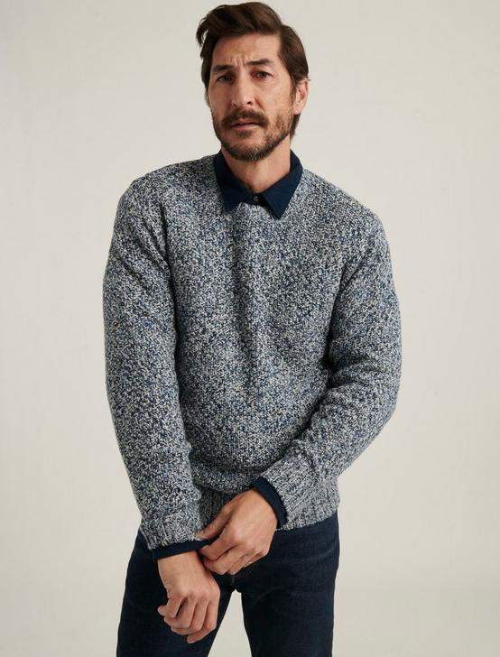 CROSS MARL STITCH PULLOVER SWEATER, BLUE MULTI, productTileDesktop