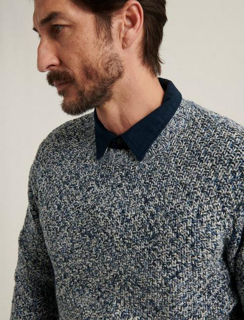CROSS MARL STITCH PULLOVER SWEATER, BLUE MULTI