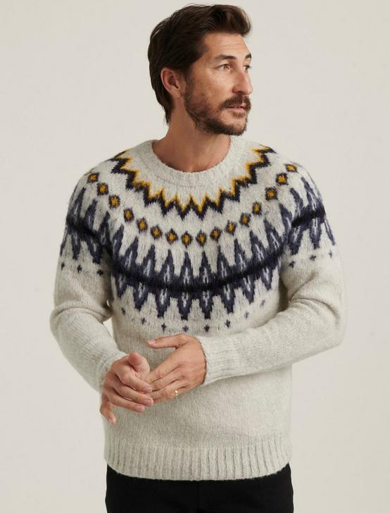 BRUSHED FAIRISLE SWEATER, HEATHER GREY MULTI, productTileDesktop