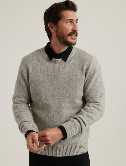 BRUSHED CASHMERE SWEATER, HEATHER GREY