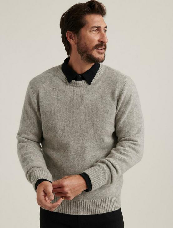BRUSHED CASHMERE SWEATER, HEATHER GREY, productTileDesktop