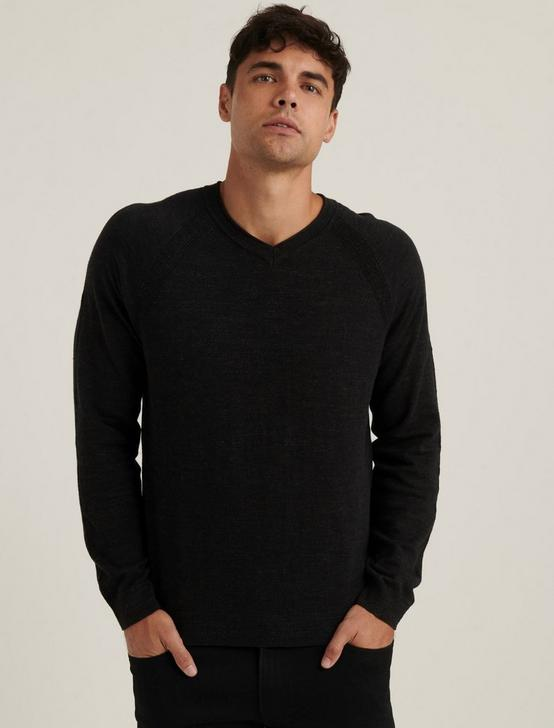 WELTERWEIGHT V-NECK SWEATER, HEATHER BLACK, productTileDesktop