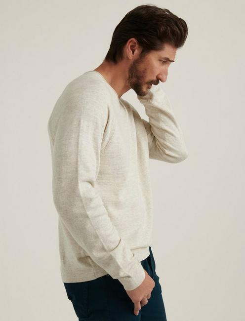 WELTERWEIGHT V-NECK SWEATER, HEATHER OAT