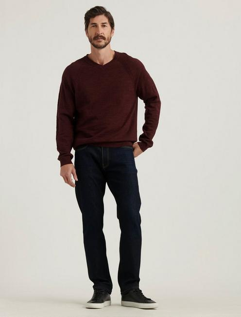 WELTERWEIGHT V-NECK SWEATER, HEATHER BURGUNDY