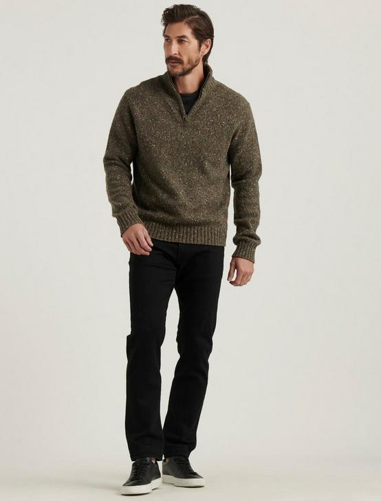 DONEGAL HALF ZIP MOCK NECK, HEATHER OLIVE, productTileDesktop