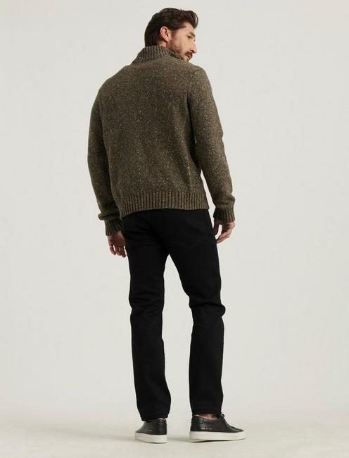 DONEGAL HALF ZIP MOCK NECK, HEATHER OLIVE