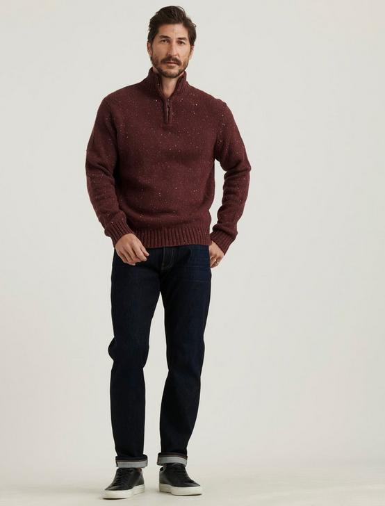 DONEGAL HALF ZIP MOCK NECK SWEATER, HEATHER BURGUNDY, productTileDesktop