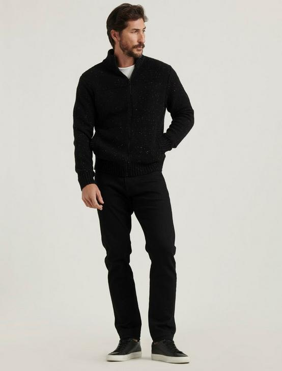 DONEGAL FULL ZIP MOCK NECK, #001 BLACK, productTileDesktop