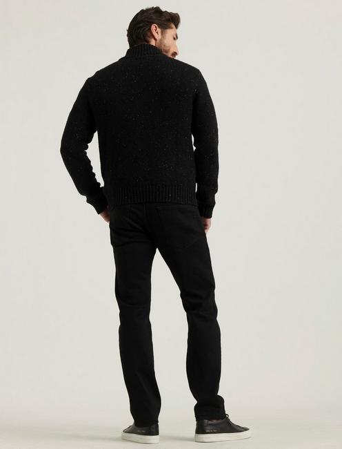 DONEGAL FULL ZIP MOCK NECK, #001 BLACK