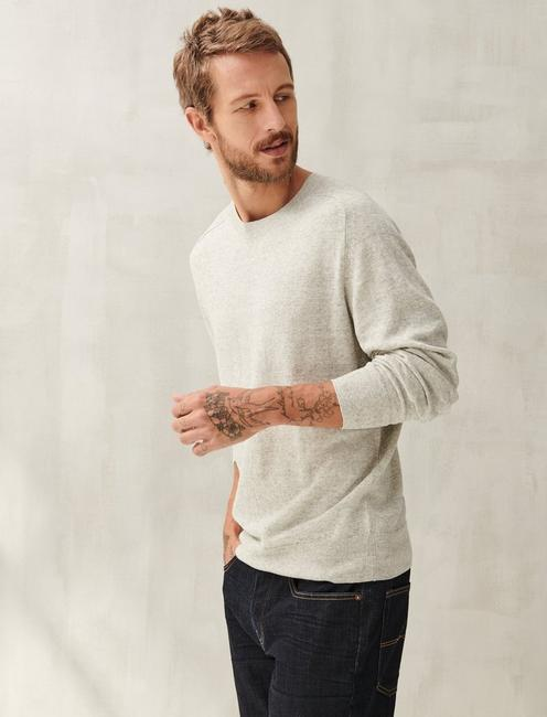 LINEN WELTERWEIGHT CREW, HEATHER GREY