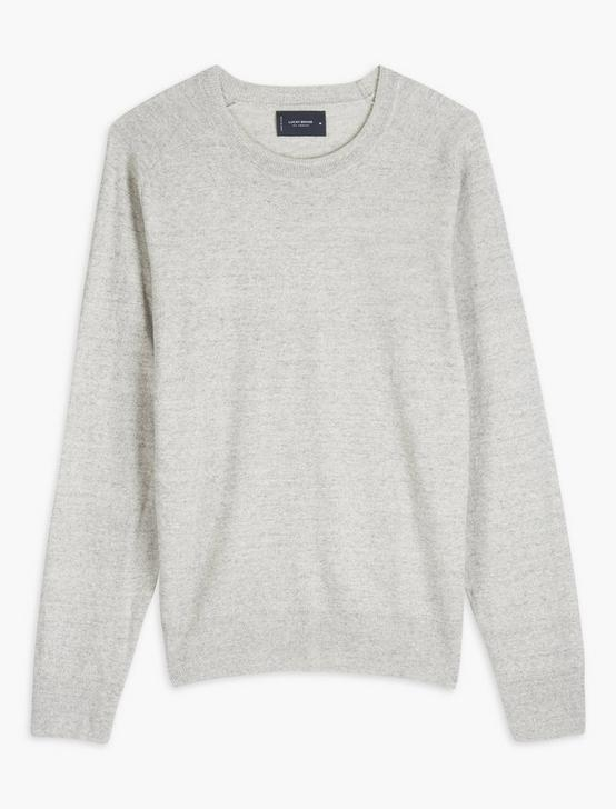 LINEN WELTERWEIGHT CREW, HEATHER GREY, productTileDesktop