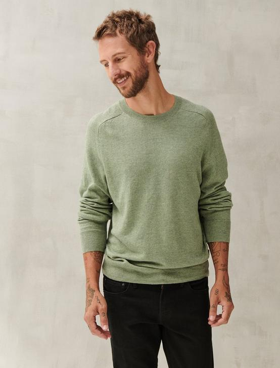 LINEN WELTERWEIGHT CREW, HEATHER GREEN, productTileDesktop
