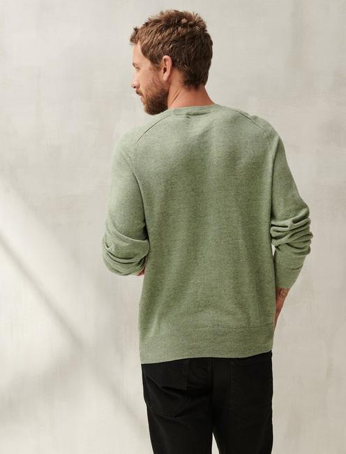 LINEN WELTERWEIGHT CREW, HEATHER GREEN
