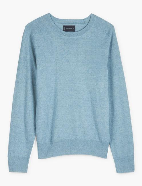 LINEN WELTERWEIGHT CREW, HEATHER BLUE