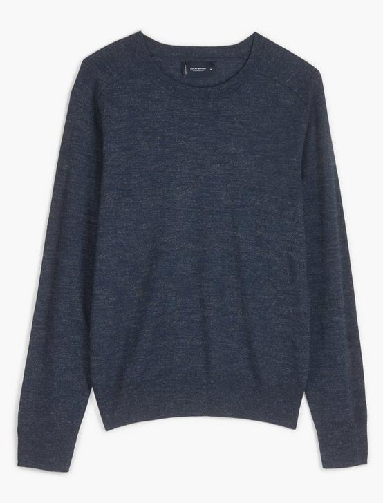 LINEN WELTERWEIGHT CREW, HEATHER NAVY, productTileDesktop
