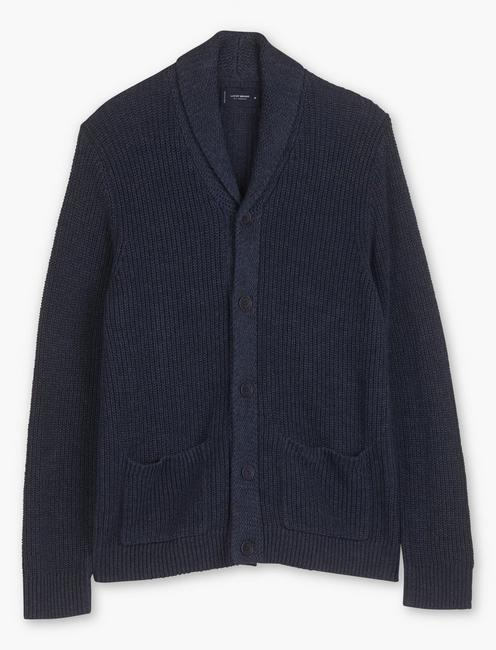 SHAWL COLLAR CARDIGAN, HEATHER NAVY