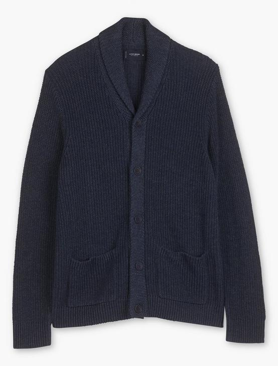 SHAWL COLLAR CARDIGAN, HEATHER NAVY, productTileDesktop
