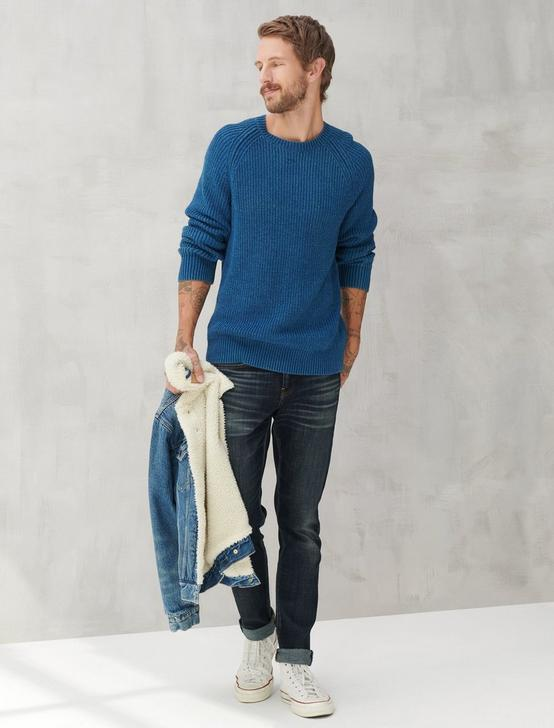 WASHED CREW NECK SWEATER, # 419 INDIGO, productTileDesktop