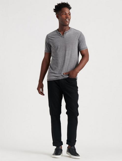 VENICE BURNOUT NOTCH TEE, BLACK MOUNTAIN