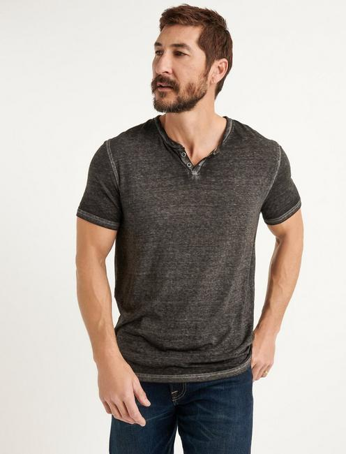 VENICE BURNOUT NOTCH TEE, RAVEN