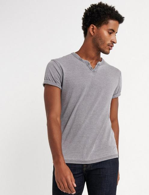 VENICE BURNOUT NOTCH TEE, FROST GRAY