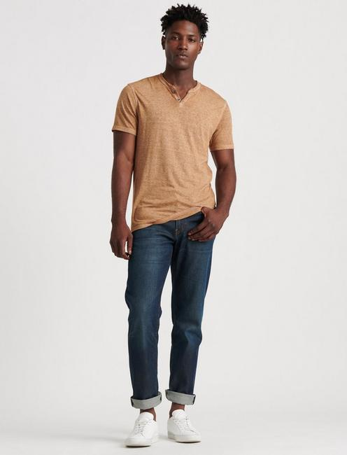 VENICE BURNOUT NOTCH TEE, LATTE