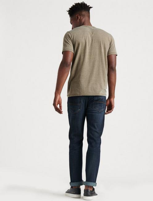 VENICE BURNOUT NOTCH TEE, DARK OLIVE