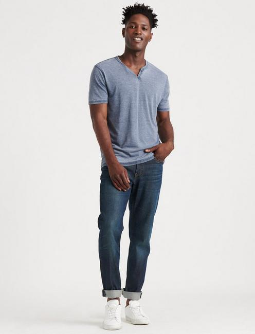 VENICE BURNOUT NOTCH TEE, AMERICAN NAVY