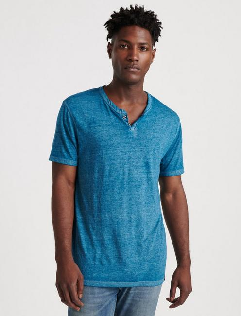 VENICE BURNOUT NOTCH TEE, BLUE STEEL