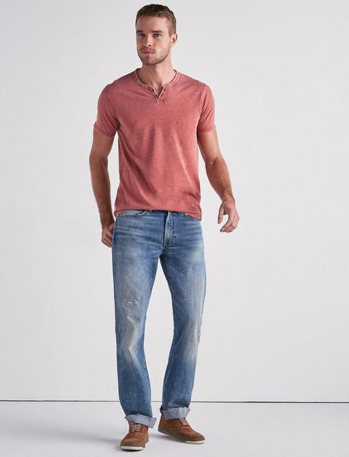 VENICE BURNOUT NOTCH TEE, COWHIDE