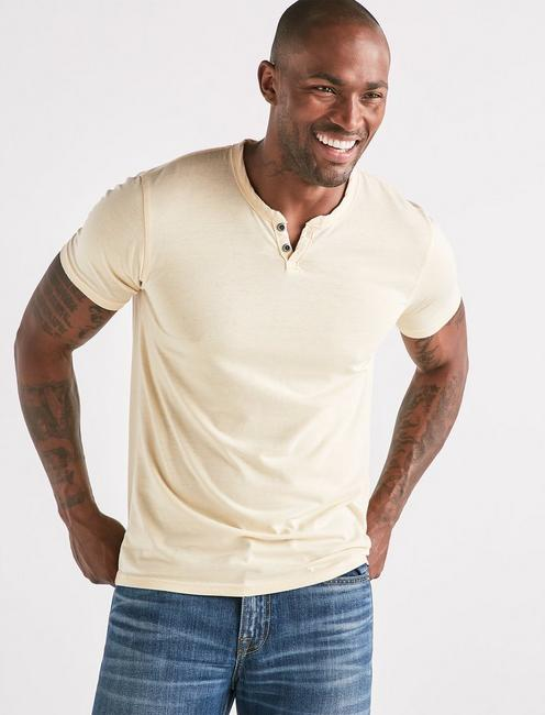 VENICE BURNOUT NOTCH TEE, REED YELLOW