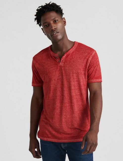 VENICE BURNOUT NOTCH TEE, RED DAHLIA