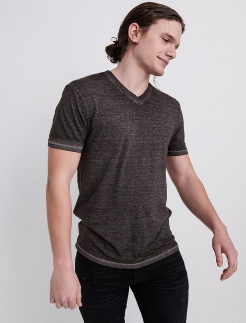 VENICE BURNOUT V-NECK TEE, RAVEN