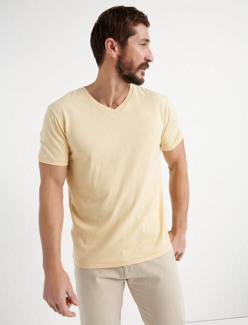 VENICE BURNOUT V-NECK TEE, REED YELLOW