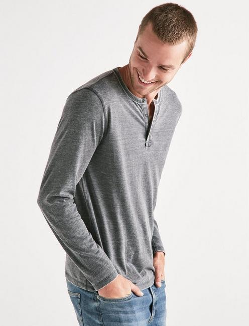 VENICE BURNOUT BUTTON HENLEY, JET BLACK
