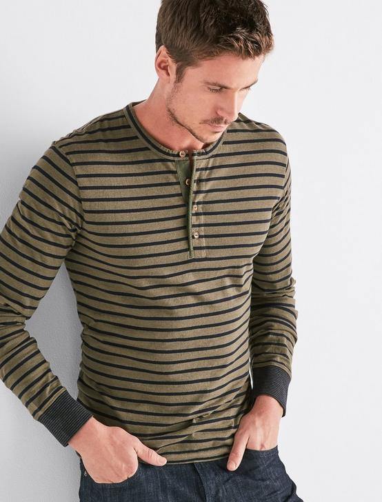 LONG SLEEVE STRIPE HENLEY, MULTI, productTileDesktop