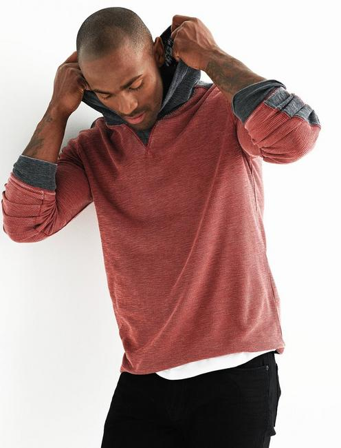 VENICE BURNOUT THERMAL HOODY, FIRE BRICK
