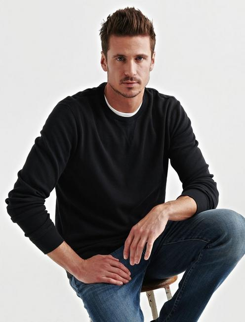 STRONG BOY BOX STITCH THERMAL CREW, JET BLACK