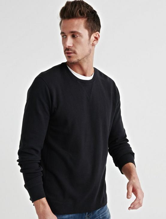 STRONG BOY BOX STITCH THERMAL CREW, JET BLACK, productTileDesktop