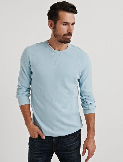STRONG BOY BOX STITCH THERMAL CREW, SPRING BLUE #4982