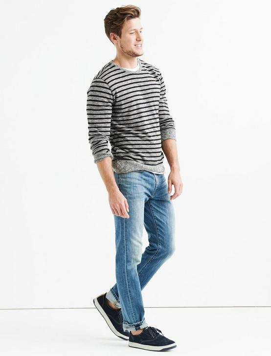 HEATHER STRIPED CREW, GREY MULTI, productTileDesktop
