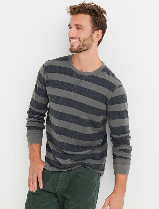 HEATHER THERMAL STRIPE CREW, MULTI, productTileDesktop