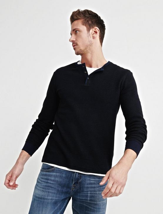 STRIPED THERMAL HENLEY, INDIGO MULTI, productTileDesktop