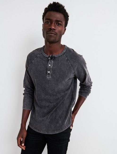 SUGAR MAGIC LONG SLEEVE HENLEY, #001 BLACK