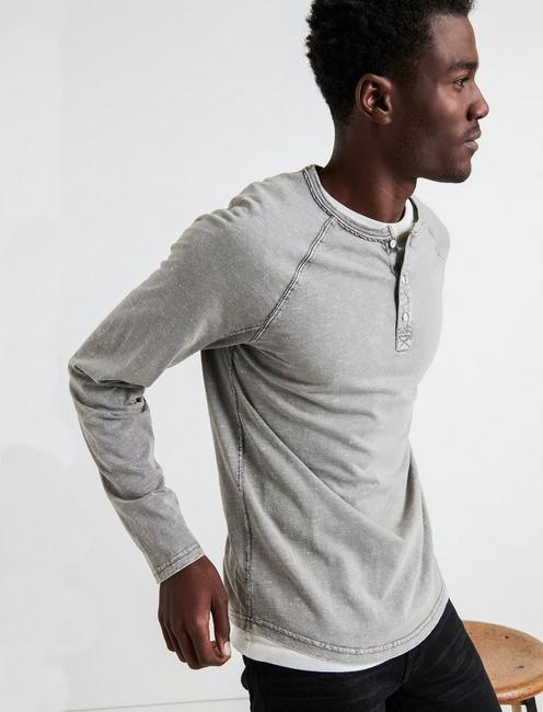 SUGAR MAGIC LONG SLEEVE HENLEY, PEWTER