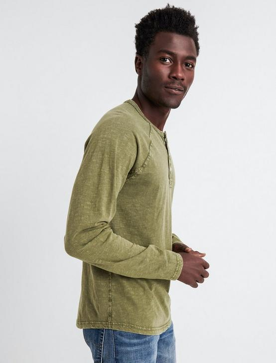 SUGAR MAGIC LONG SLEEVE HENLEY, IVY GREEN, productTileDesktop