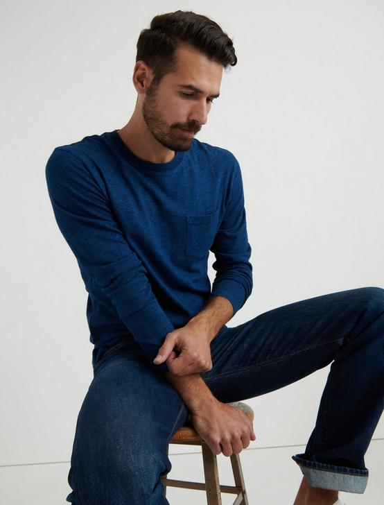 LONG SLEEVE INDIGO POCKET CREW, # 419 INDIGO, productTileDesktop